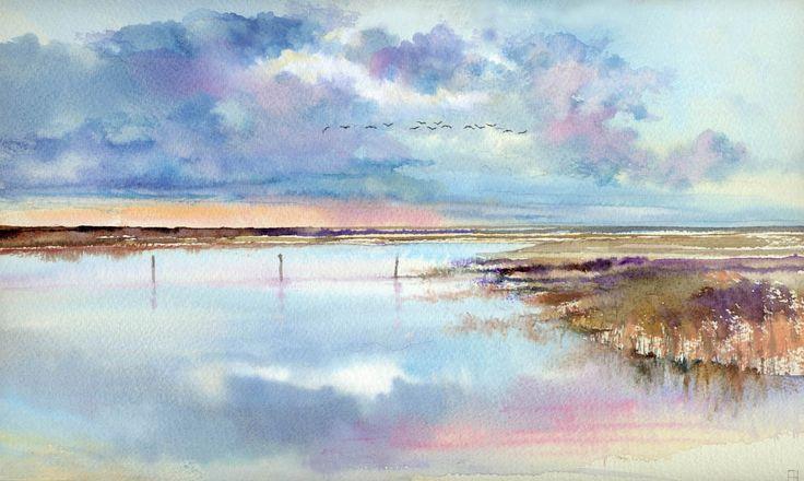 """Tide Flight, Salthouse Norfolk"" watercolour by John Hurst."