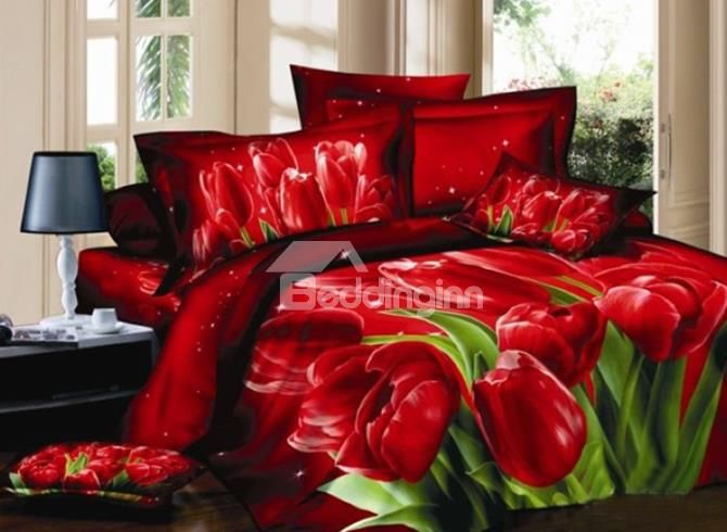 Luxury Red Tulips Print 3D Duvet Cover Sets