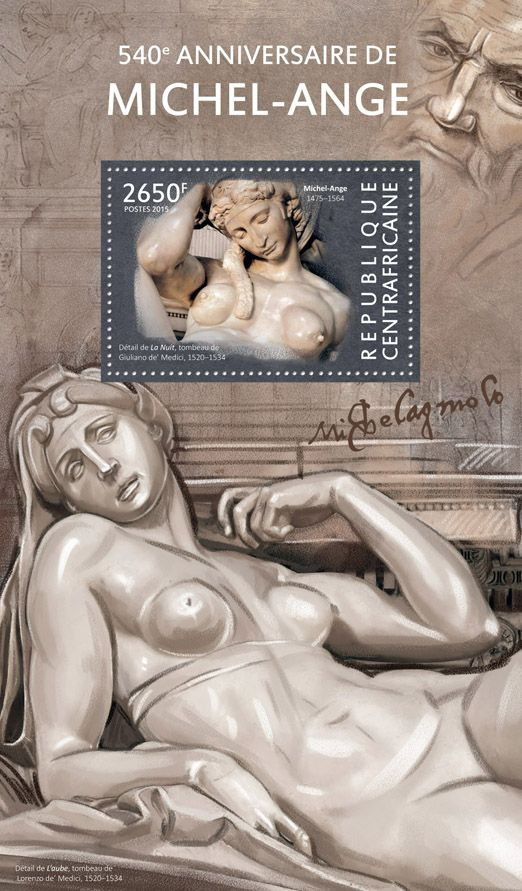 """Post stamp Central African Republic CA 15114 b 540th anniversary of Michelangelo (Detail of """"The Night"""", the tomb of Giuliano de' Medici, 1520-34)"""