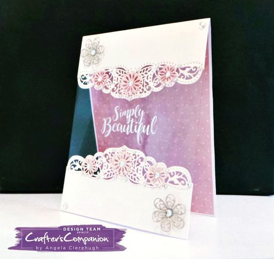 "5"" x 7"" Card made using Sara Signature Exclusive Floral Fantasy Collection - Designed by Angela Clerehugh #crafterscompanion"