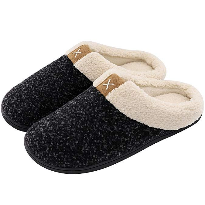 8aef47cddd12 Men s Cozy Fuzzy Wool-Like Plush Fleece Memory Foam Slip-on Clog Winter House  Shoes