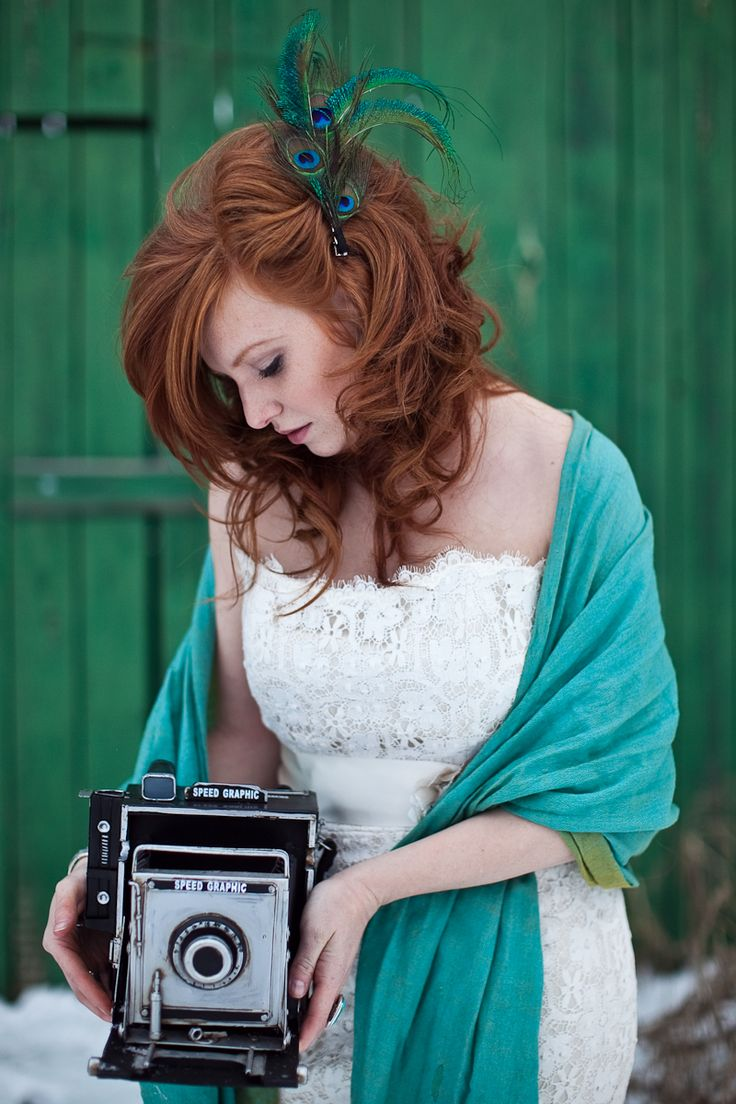 Winter Vintage Chic Wedding like the hair, peacock feather for color and shawl mint green for later warmth if necessary