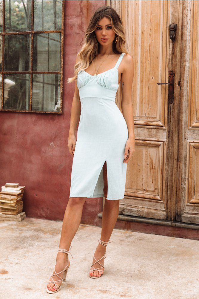 8ffdb80e7a43a Luna Lush Midi Dress Mint | k | Dresses, White dress, Small gold hoops