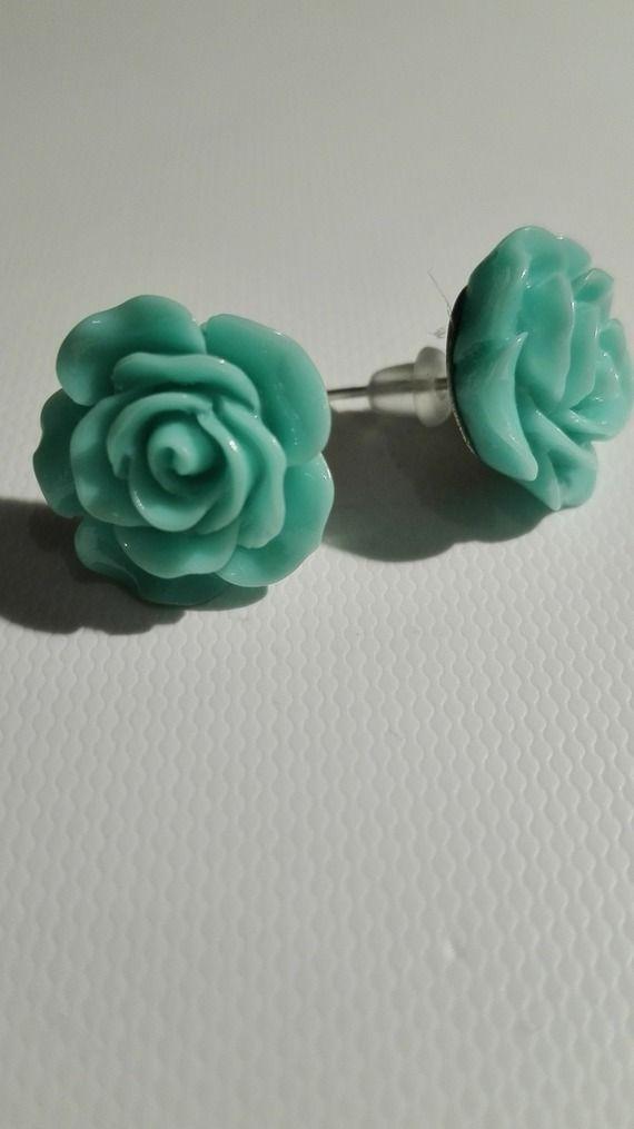 Boucles d'oreilles clou en forme de rose - vert -10mm