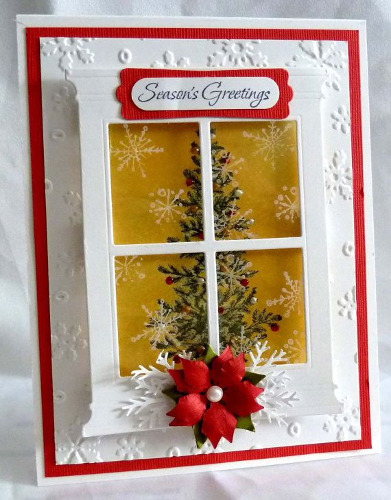 Window Christmas Tree Card Using Stampin Up, via Etsy.