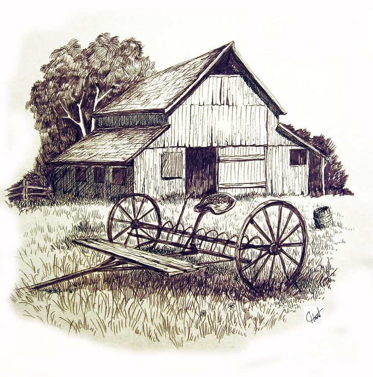 Pen Drawings Old Barns Acrylic Yahoo Search