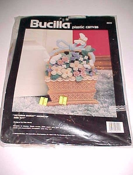 Bucilla Plastic Canvas Victorian Basket Doorstop Dick Martin 1990 Item 6045 New #Bucilla