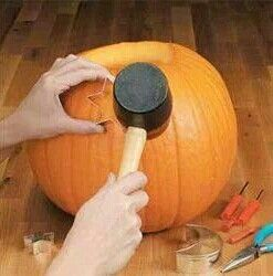 Use cookie cutters to carve out shapes in your pumpkins