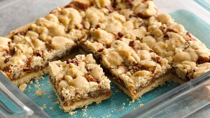 5 Ingredient! Ooey, gooey caramel bars with a sugar cookie crumble topping will be an instant favorite.