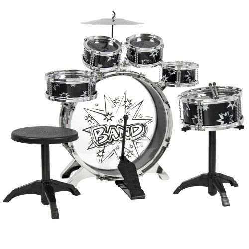 11 Pc Kids Drum Set With Stool Drumsticks Children Musical Instrument Play Kit #SmartDealsMarket