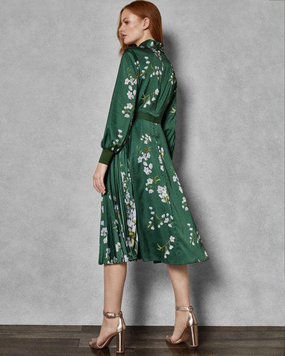 9cacea9d7bd7 Graceful satin midi dress - Green | Dresses | Ted Baker UK | 2019 ...