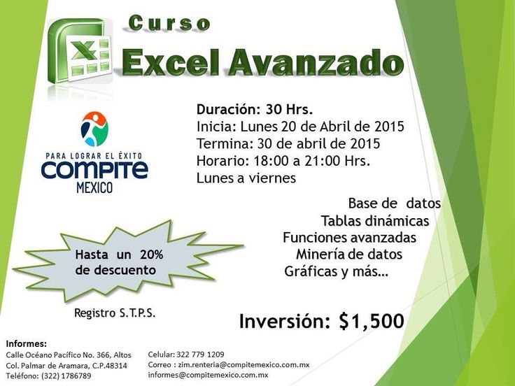 Curso Excel avanzado Tel. 1786789 zim.renteria@compitemexico.com.mx