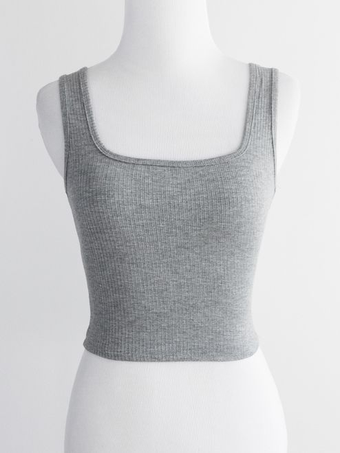 cd4a6569c9 Ribbed square neck crop tank - heather grey | TOPS & OUTERWEAR ...