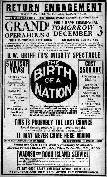 """""""The Birf of a Nation"""", a obra maxistral de David W. Griffith tivo un impacto enorme xa desde a súa estrea. Un anuncio na prensa norteamericana."""