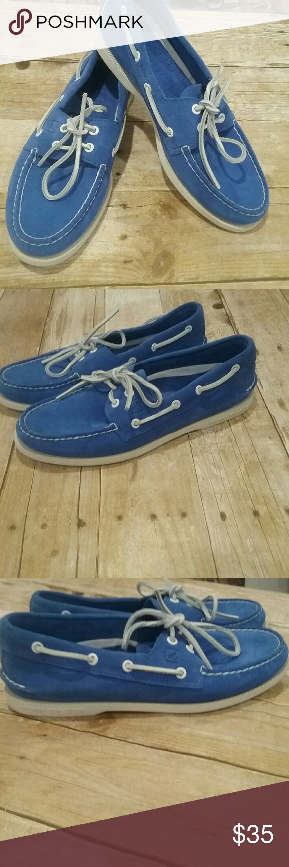 Sperry mens 2 eye top sider Sperry mens 2 eye cobalt blue suede  top siders- PRE-OWNED- GREAT condition- good looking shoes- Sz 9.5 boat shoes - some minimal wear on laces and soles Sperry Top-Sider Shoes Boat Shoes