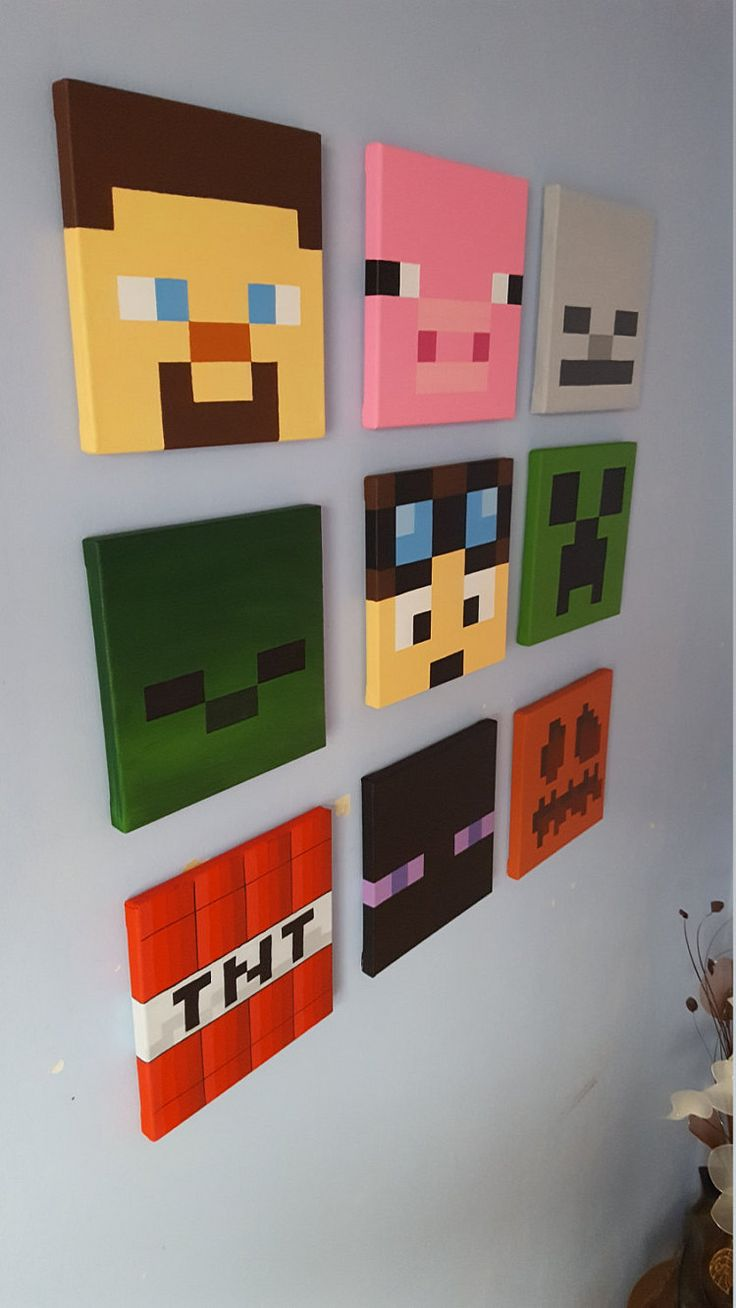 Minecraft wall art. Set of 9 canvases. Small 8 x 8. от Katzkanvas