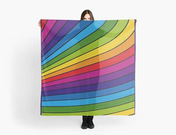 Rainbow stripes scarf/wrap Foulard carré 140 cm motif