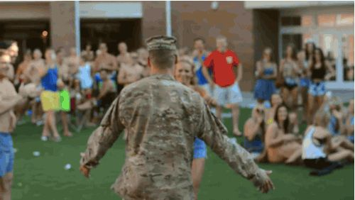 There's not really words for what happened when Lexi saw her boyfriend walk into the party after being deployed for nine months… | This Solider Surprised His Girlfriend And Frat Brothers With Such A Heartwarming Homecoming
