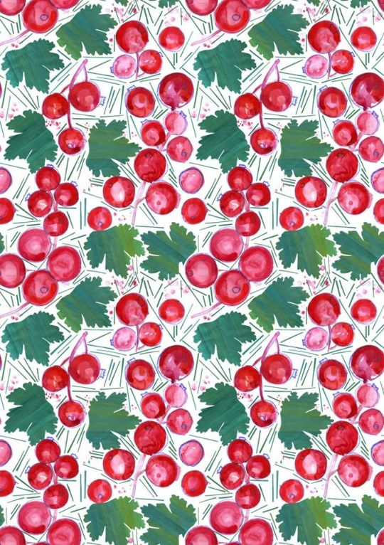 #red currant #pattern #textile #design #summer #onebee #onebeecraft #currant #plant #gouache #ink #mixed media #bedclothes https://www.facebook.com/onebeecraft/