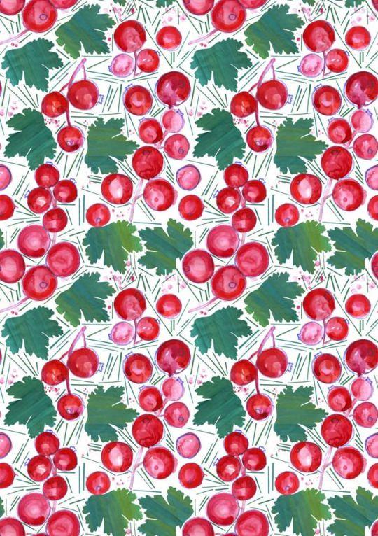 #red currant #pattern #textile #design #summer #onebee #onebeecraft #currant #plant #gouache #ink #mixed media #bedclothes https://www.facebook.com/onebeecraft/