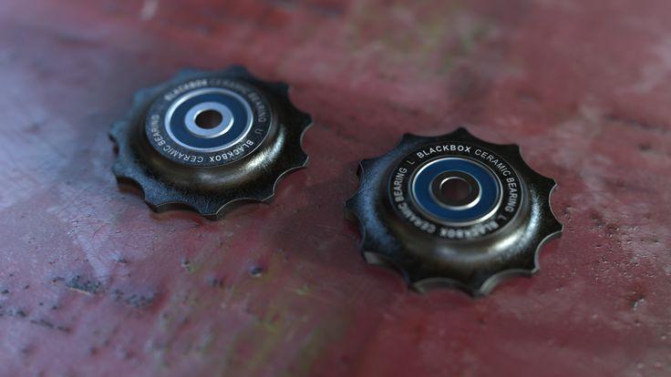 SRAM Ceramic Bearing Rear Derailleur Pulleys, a texture render exercise done in KeyShot by Magnus Skogsfjord. No post processing