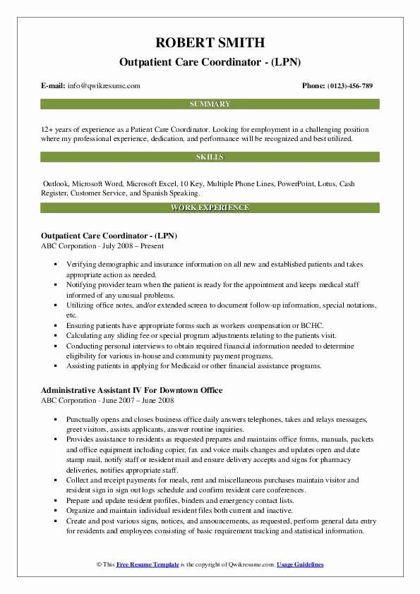 Patient Care Coordinator Job Description Resume New Patient Care Coordinator Resume Samples In 2020 Job Resume Samples Manager Resume Patient Care Coordinator