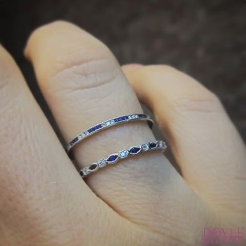 Such a classic combination: Art Deco style sapphire and diamond stacking bands. Made to order in your size by Doyle & Doyle.