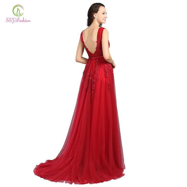Robe De Soiree SSYFashion Lace Beading Sexy Backless Long Evening Dresses  Bride Banquet Elegant Floor- c71c5eb69