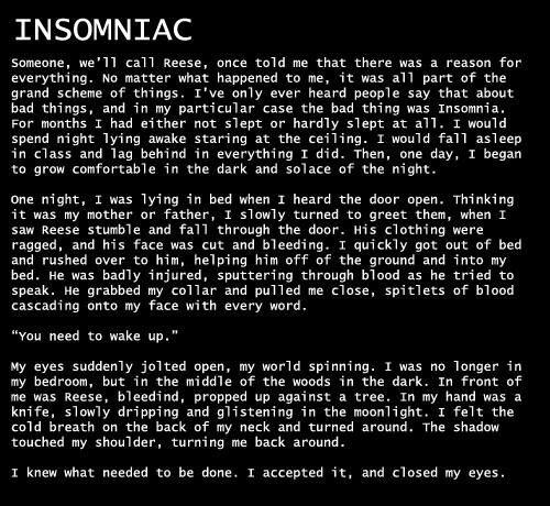 Insomniac scary story
