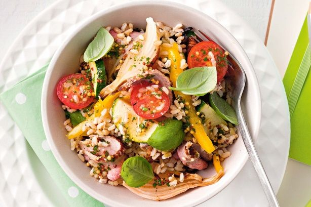 Brown rice and vegetable salad with basil dressing main image