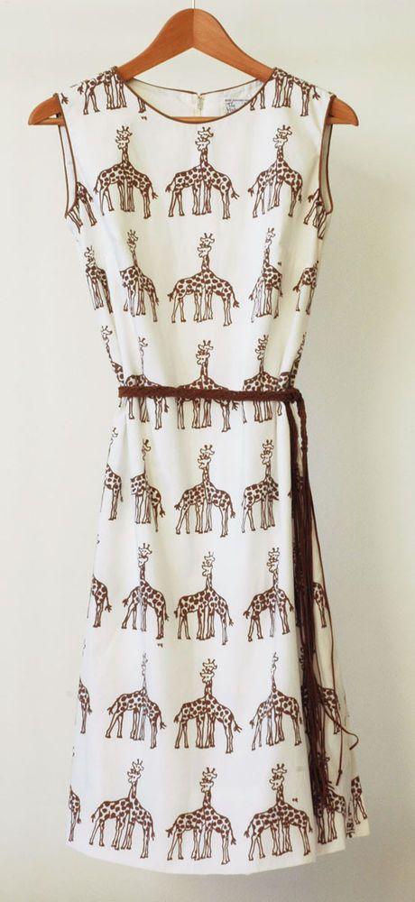 Vested Gentress Hand-screened Giraffe Print Shift Dress 60s/80s Vintage