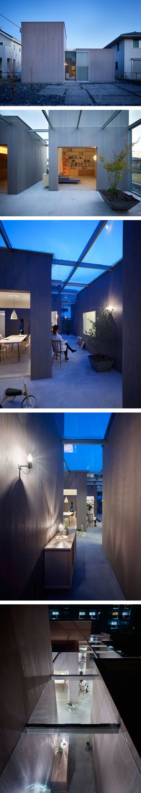 Buzen house, Fukuoka, Japan by Suppose Design Office. The aim was to design a house for the kids to enjoy. They use outside space to its full potential and make equal the relationship between inside and out by using the courtyard as a part of everyday life, bringing inside activities outside.