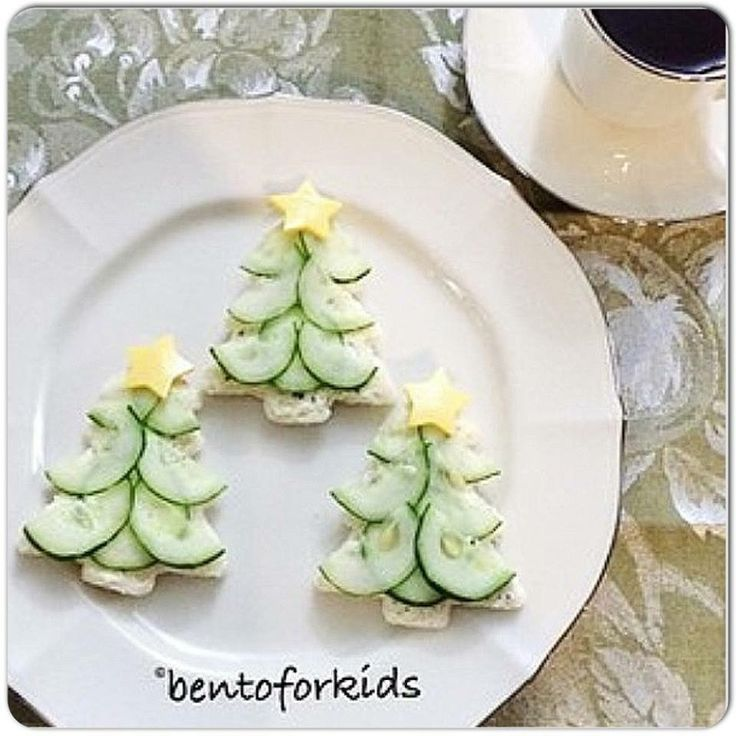 Cucumber Christmas Trees for Tea