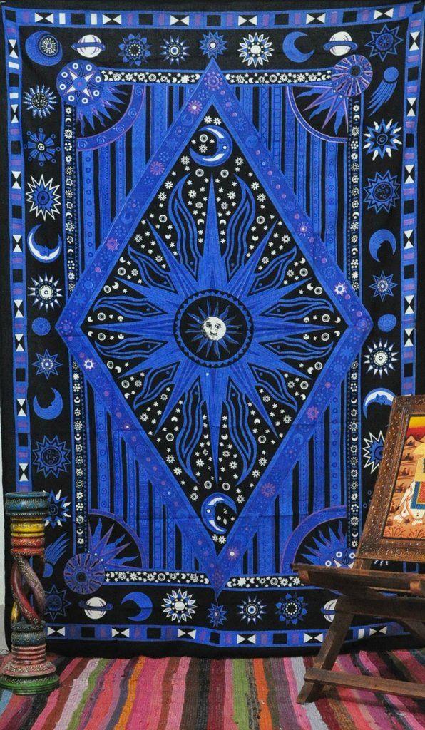 Psychedelic Celestial Sun Moon Stars Tie Dye Tapestry Cute Dorm Tapestry