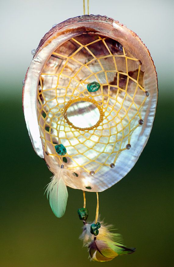 Dreamcatcher 33 with turquoise in abalone shell. Dream catcher for protection