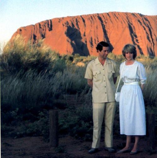 Diana and Charles at Uluru, Australia. 1983