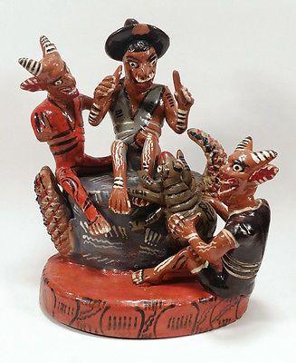 Big Vintage Mexican Ocumicho Folk Art Pottery Sculpture Figurine Diablito Devils