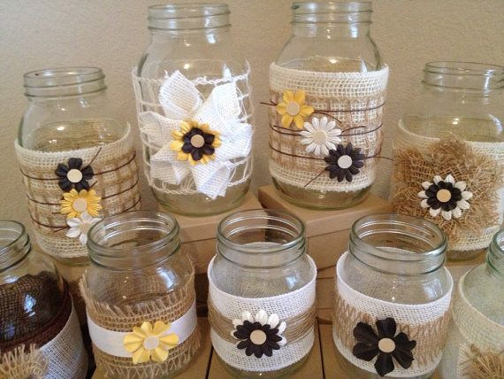 Country Chic Handmade Burlap Jute Inspired Mason Jars (Set of 6) // Wedding Centerpiece on Etsy, $22.00