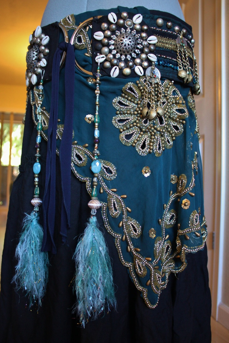 Tribal Tassels- Blue Unicorn- Tribal Costume Accessory, Novelty Yarn, Vintage Beads. $36.00, via Etsy. So PRETTY!