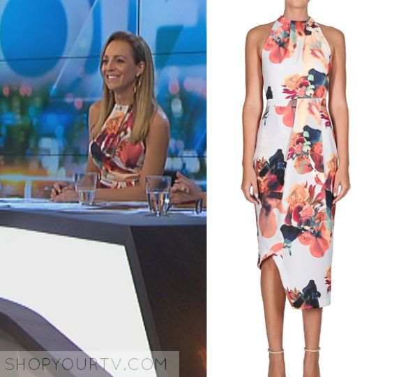 The Project: April 2017 Carrie's Floral Printed Dress | Carrie Bickmore wears this floral sleeveless printed high neck midi dress in this episode of The Project on April 19th 2017.  It is the Cooper St Stolen Pansy High Neck Dress