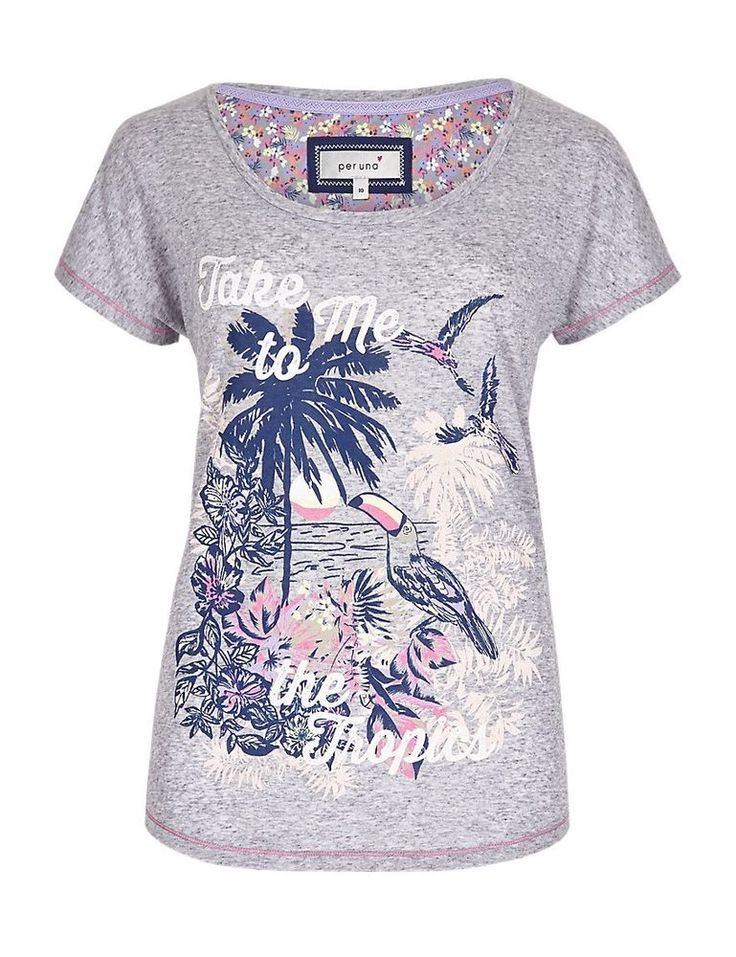 Size 16 Marks & Spencer PER UNA Cotton Rich Tropical Slogan T-Shirt with Linen  | eBay