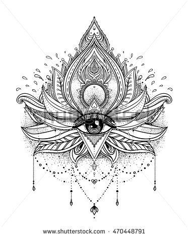 Vector ornamental Lotus flower, all-seeing eye, patterned Indian paisley. Hand d… – Tattoos