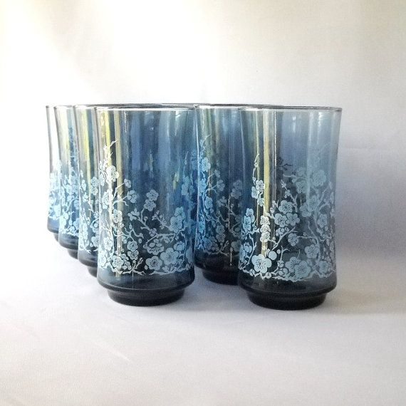Vintage Libbey Drinking Glasses Tumblers Blue By