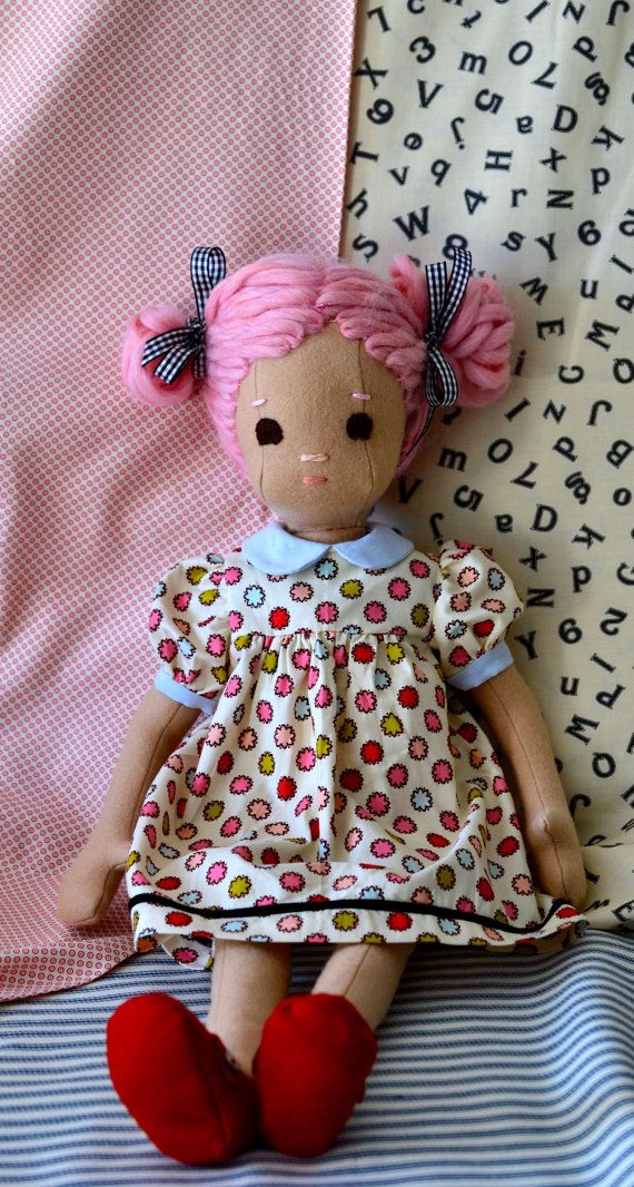 PinkHaired Handmade Doll jointed posable wool by PhoebeandEgg, $230.00
