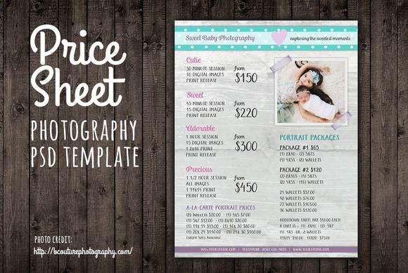 Price Sheet List PSD Template by Studio29 on Creative Market