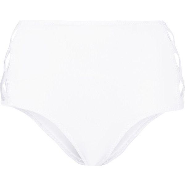 Norma Kamali X's cutout high-rise bikini briefs ($105) ❤ liked on Polyvore featuring swimwear, bikinis, bikini bottoms, white, cut out high waisted bikini, cut out bikini, white bikini top, swim tops and tankini top