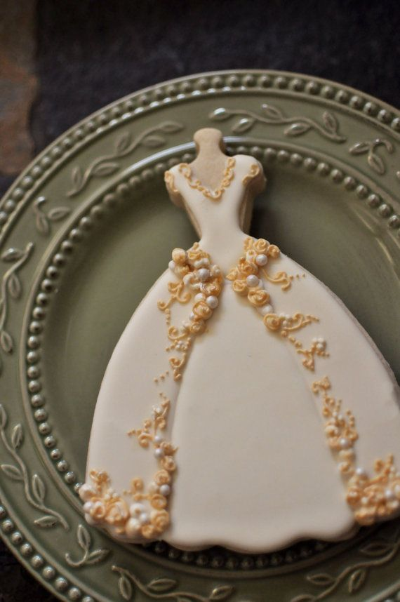 Wedding Dress Cookies 6 PIECES Embroidered Full Skirt Gown Bridal Shower
