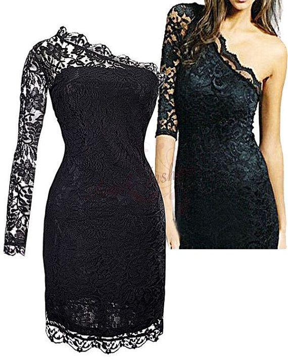 Sexy One shoulder Lace Trim Evening Dresses by MakeGirlsJealous, $36.99 want this