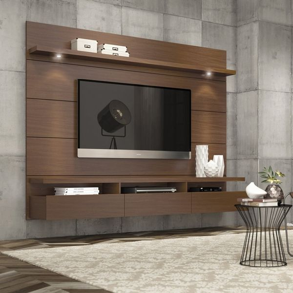 Cabrini Floating Wall Theater Entertainment Center (Nut Brown)