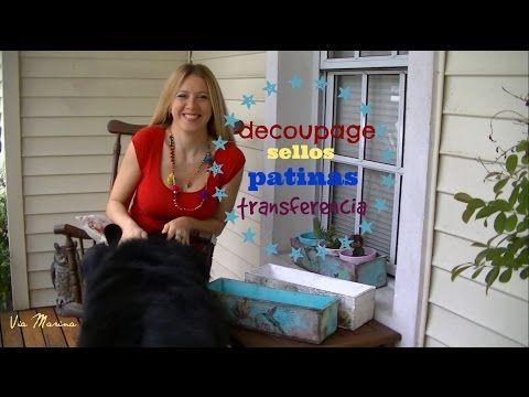 Como hacer decoupage, transferencia, sellos y patinas ♥ Marina Capano - YouTube